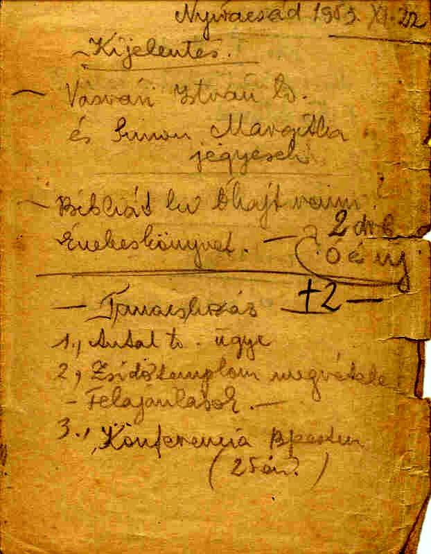 1. sz. melléklet. Gyülekezeti tanácskozás tervezete Nyíracsádon 1953. november 22-én. 2. napirendi pont: a zsinagógavásárlás kérdése. Kérés a felajánlások megtételére a vételár összegyűjtése céljából