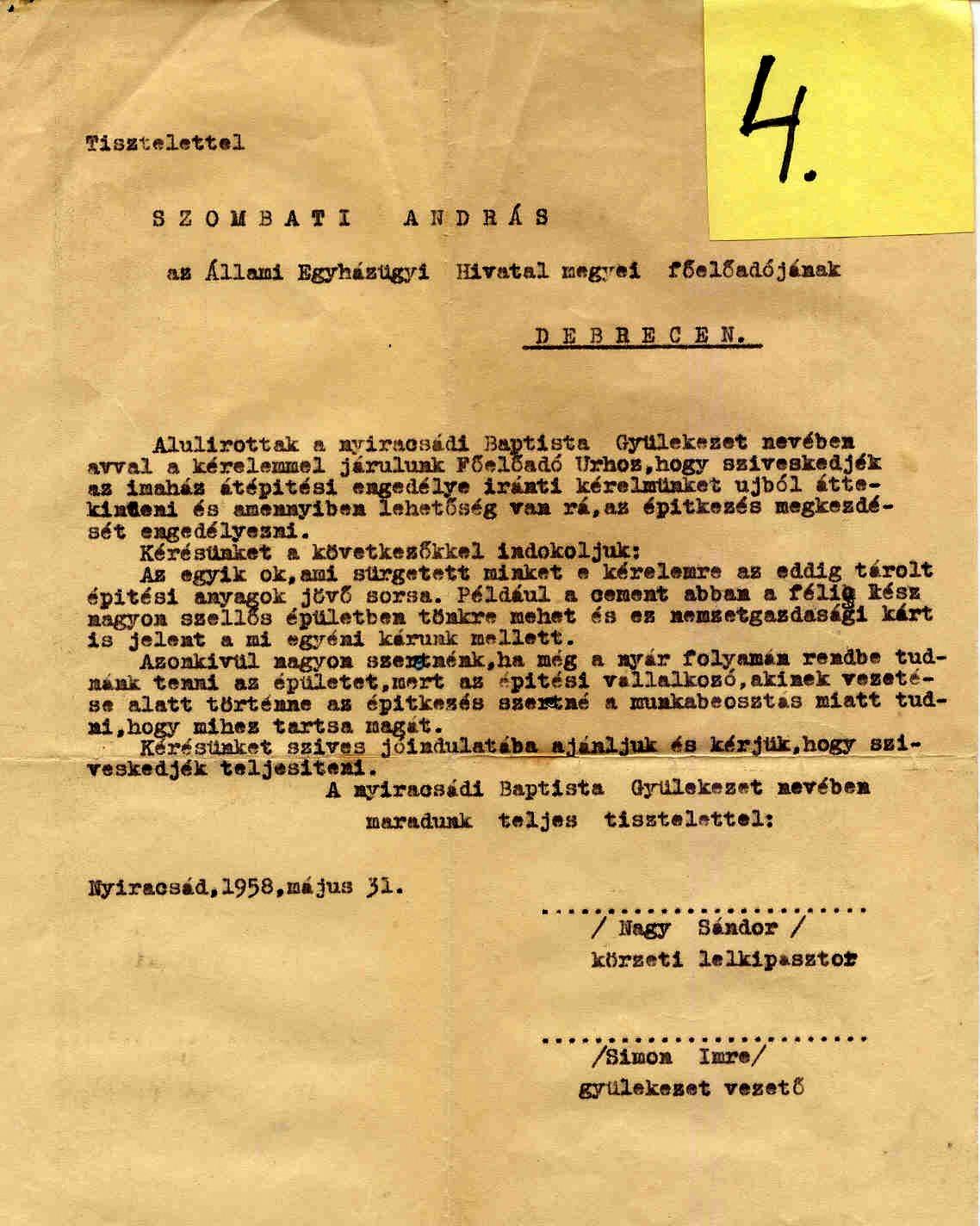 4.sz. melléklet. Nagy Sándor és Simon Imre kérvénye Szombati Andrásnak,  az Állami Egyházügyi Hivatal (ÁEH) megyei főelőadójának, Nyíracsád, 1958. május 31.