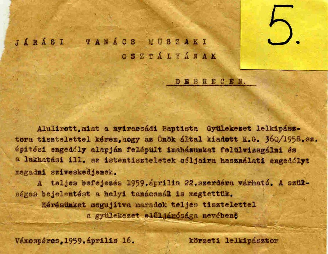 5. sz. melléklet. Felülvizsgálati és lakhatási engedély iránti kérelem  a Járási Tanács Műszaki Osztályának címezve. 1959. április 16., Vámospércs