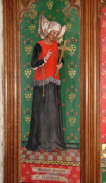 Norwichi Julianna egészalakos képe egy angliai templom falán