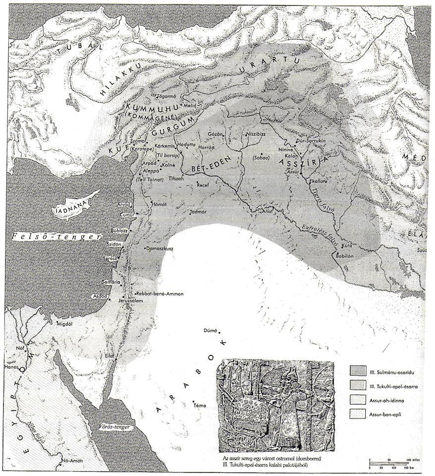 Az Asszír Királyság felemelkedése – ie. XIX–VII. század  (Forrás: Aharoni–Avi-Yonah, 2004. 112. 147. térkép)