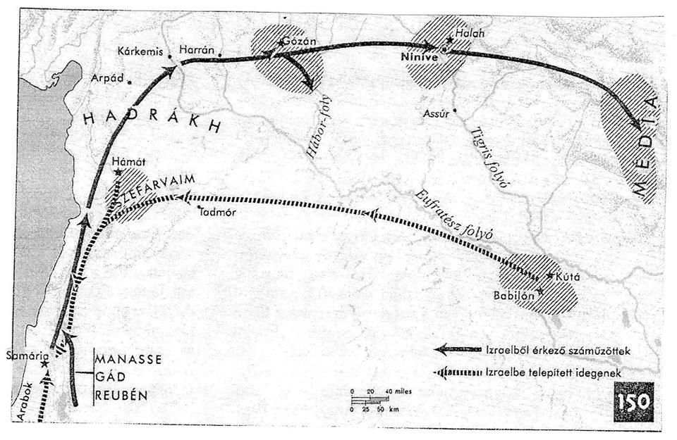 Áttelepítések Izraelből és Izraelbe az asszír uralom idején (Forrás: Aharoni–Avi-Yonah, 2004. 115. 150. térkép)