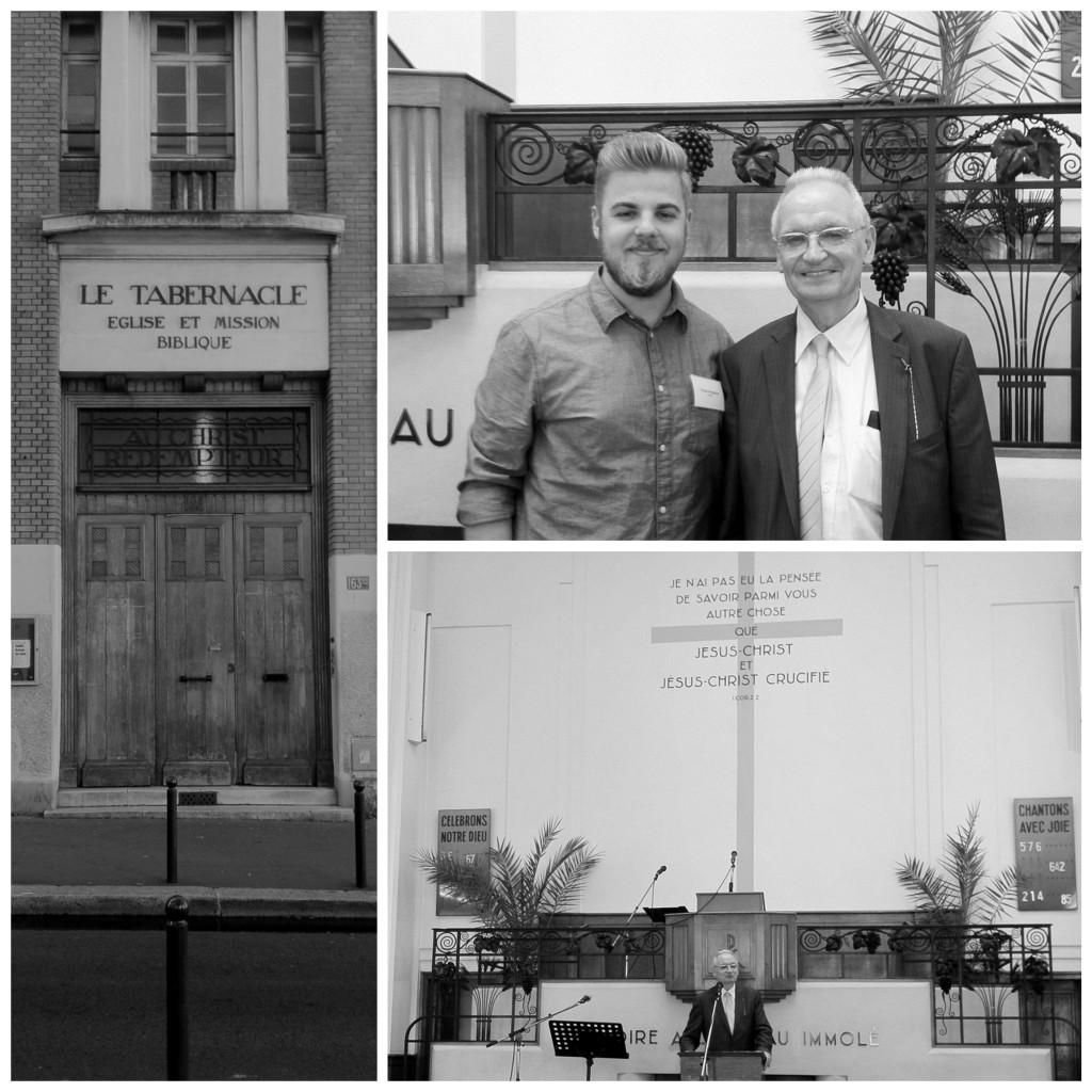 Bal kép: A Le Tabernacle bejárata Jobb felső kép: A szerző és Monsieur Blocher  Jobb alsó kép: Henri Blocher köszönti a hallgatóságot